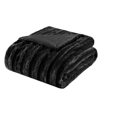 Black York Long Faux Fur Throw (50 X60 )