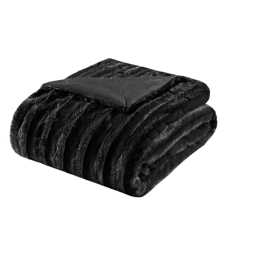 Black York Long Faux Fur Throw (50