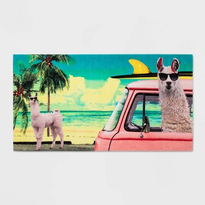 Surfing Llama in Car Beach Towel Pink - Sun Squad™