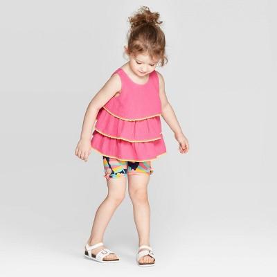 Toddler Girls' Solid Printed Top and Bottom Set - Cat & Jack™ Pink/Blue 12M
