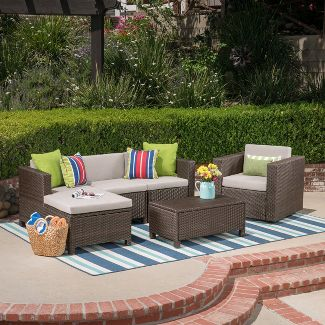 Puerta 6pc Wicker Seating Set - Brown/Ceramic Gray - Christopher Knight Home