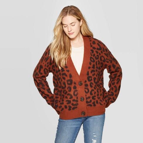 Women's Leopard Print Long Sleeve V-Neck Cardigan - Universal Thread™ Brown - image 1 of 3