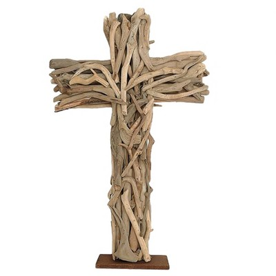 Driftwood Cross with Wood Base - 3R Studios
