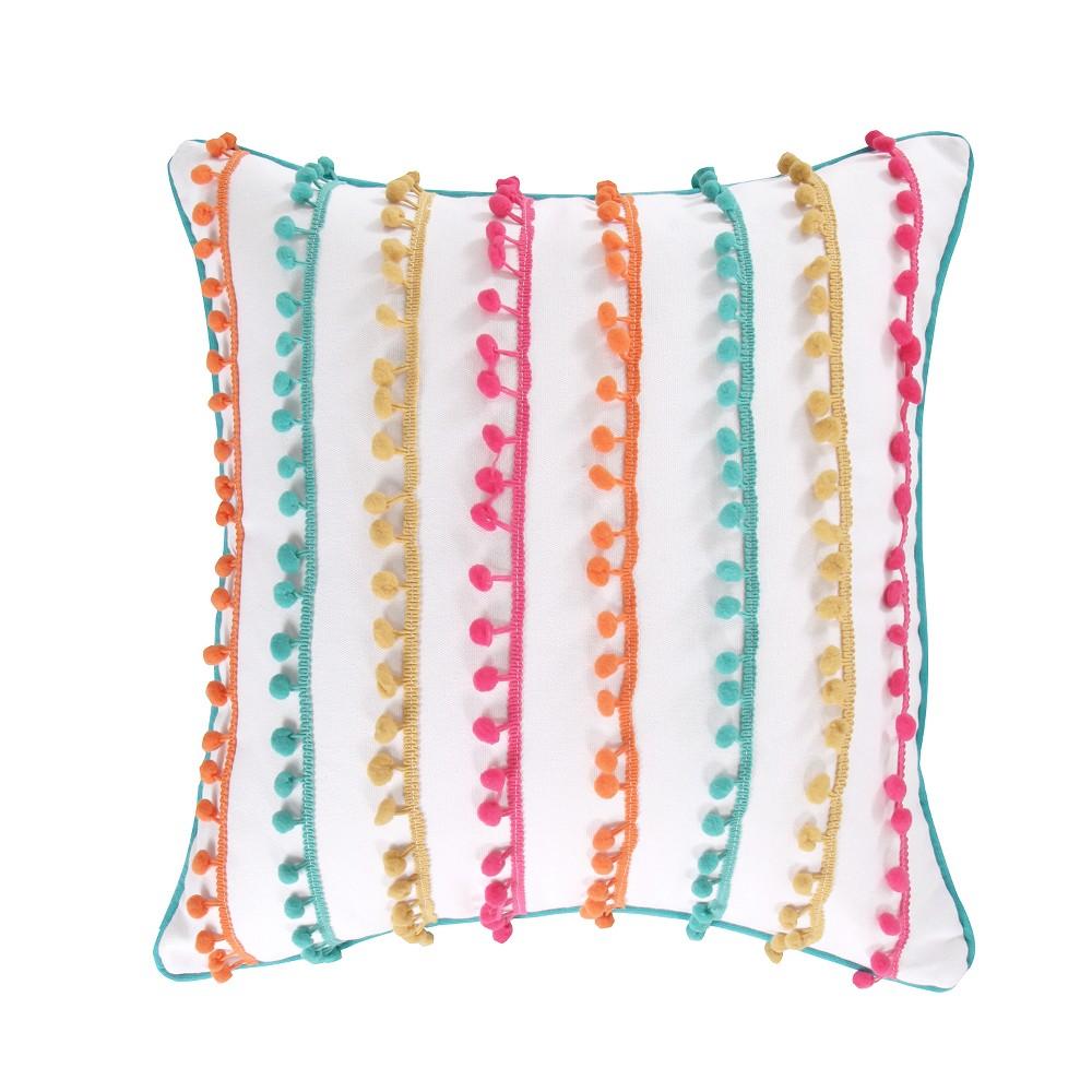 Image of 20x20 Jorja Poms Pillow White - Homthreads