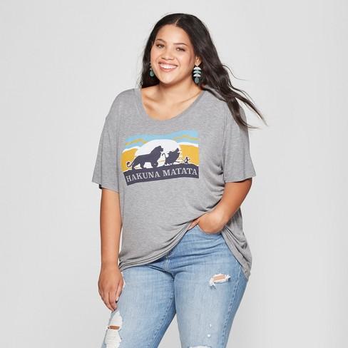 62548516 Women's Disney Plus Size Short Sleeve Hakuna Matata Graphic T-Shirt  (Juniors') Heather Gray