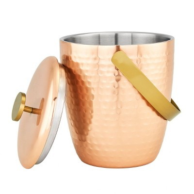 Old Dutch 2.3qt Stainless Steel Aura Hammered Double Walled Ice Bucket Copper