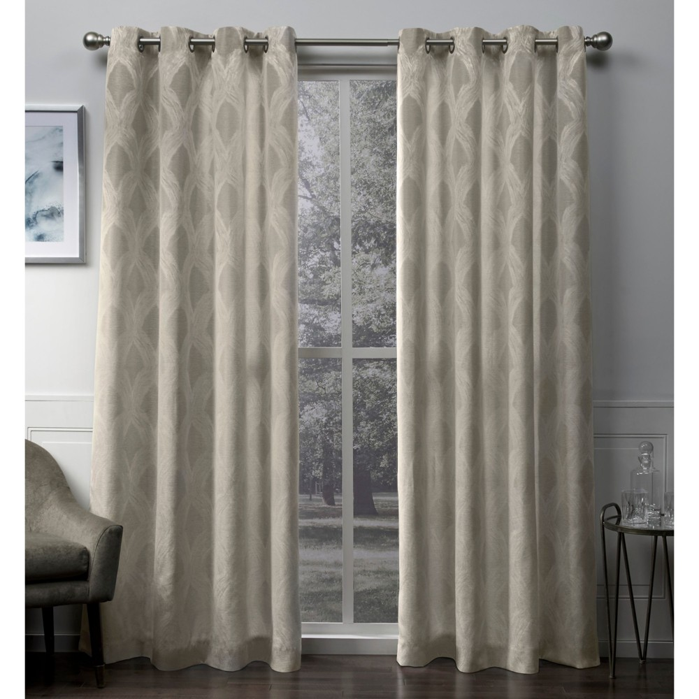 Dorado Geometric Textured Linen Jacquard Grommet Top Window Curtain Panel Pair Natural 54x96 - Exclusive Home