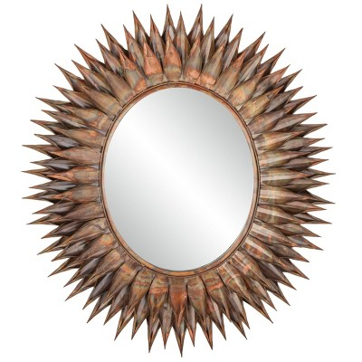 """40"""" x 40"""" Eclectic Iron and Wood Spiked Framed Wall Mirror Bronze - Olivia & May"""