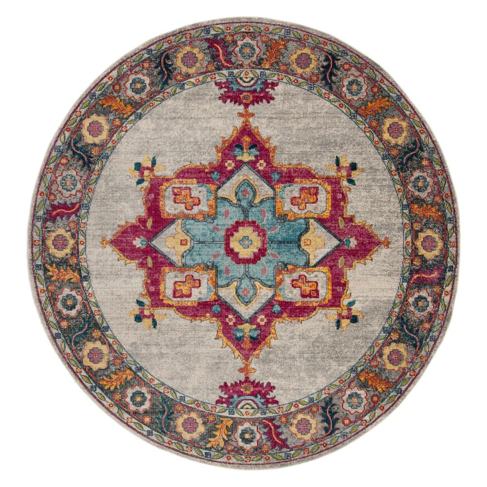 6'7 Medallion Round Area Rug Cream - Safavieh, Ivory/Multi-Colored