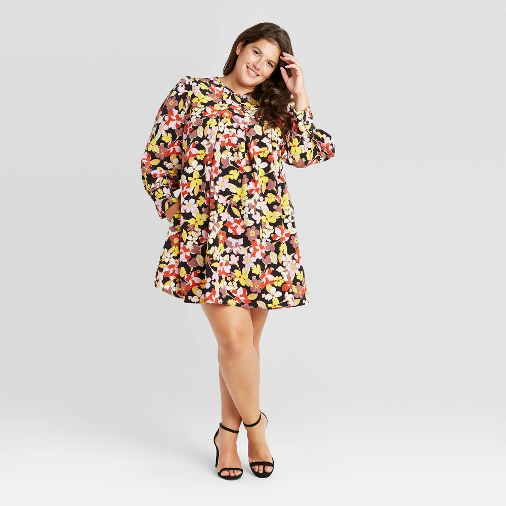 1960s Dresses – A Rainbow of 50 Dresses (Pictures) Womens Plus Size Floral Print Balloon Long Sleeve Pleated Shift Dress - Who What Wear 4X $36.99 AT vintagedancer.com