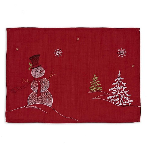 "Red Snowman Embroidered Placemat (Set Of 6) (13""X19"") - Design Imports - image 1 of 1"