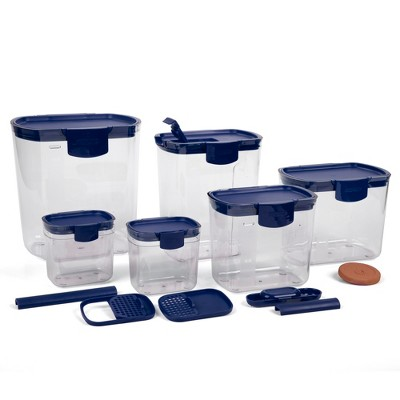 Progressive International Prepworks ProKeeper 6 Piece Clear Food Storage Container Bin and Lid Set for Home Pantry Kitchen Organization, Blue (2 Pack)