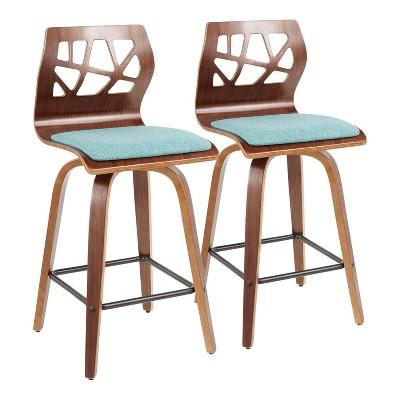 Set of 2 Folia Mid-Century Modern Counter Height Barstools - LumiSource