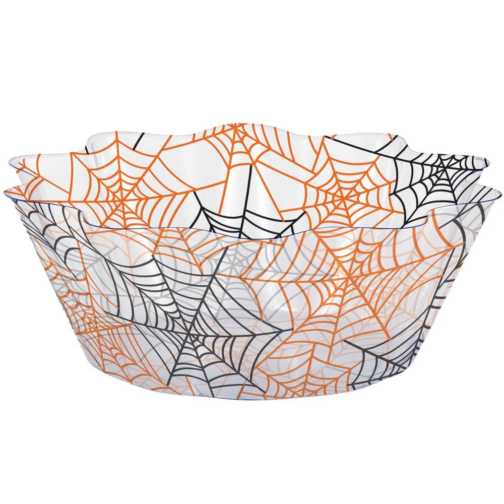 Image of Spiderwebs Fluted Bowl Orange, Black Clear Orange