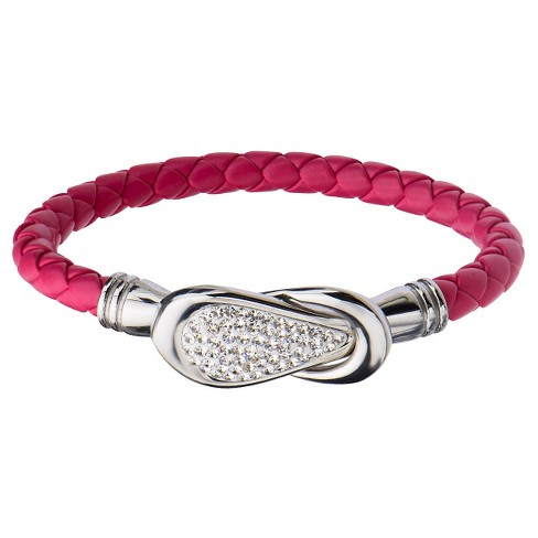 "Women's Steel Art Cherry Italian Leather Bracelet with Preciosa Crystals Magnetic Closure (7.25"") - image 1 of 1"
