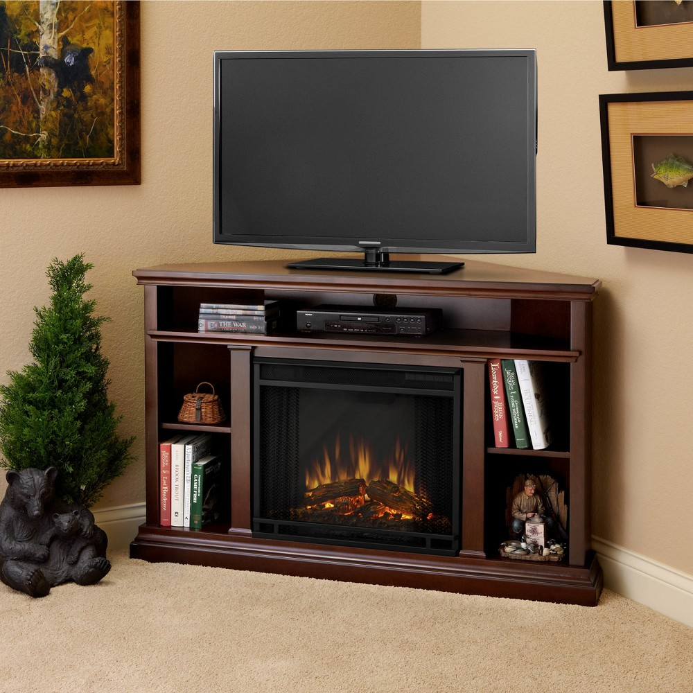 Churchill Corner Electric Fireplace Entertainment Center - Espresso Brown - Real Flame