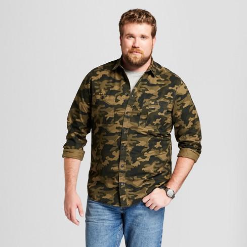 Mens Big Tall Long Sleeve Military Twill Button Down Shirt