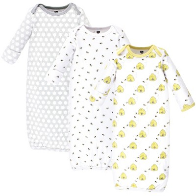Hudson Baby Infant Cotton Long-Sleeve Gowns 3pk, Bees, 0-6 Months