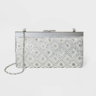 Estee & Lilly Bar Clasp Closure Pearl and Stone Framed Clutch - Silver