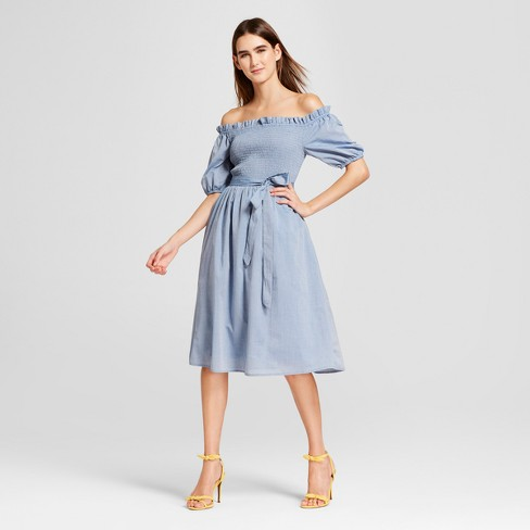 Women's Short Sleeve Smocked Dress- Who What Wear™ Chambray - image 1 of 3