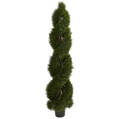 4ft Double Pond Cypress Spiral Topiary - Nearly Natural