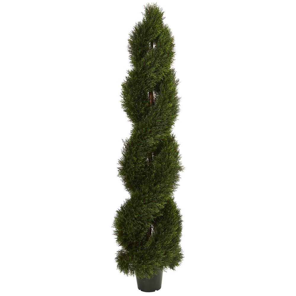 Image of 4ft Double Pond Cypress Spiral Topiary - Nearly Natural