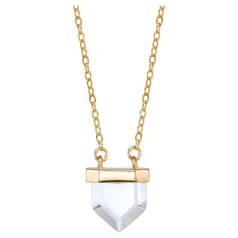 "Women's Sterling Silver Pentagon Crystal station Necklace - Gold (18"") - image 1 of 2"