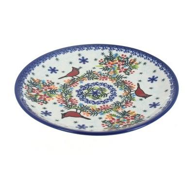 Blue Rose Polish Pottery Winter Cardinal Dessert Plate