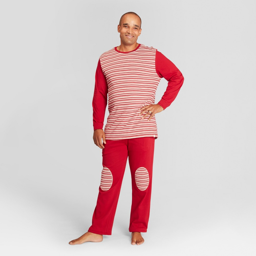 Burt's Bees Baby Men's Striped Holiday Candy Cane Pajama Set - Red L