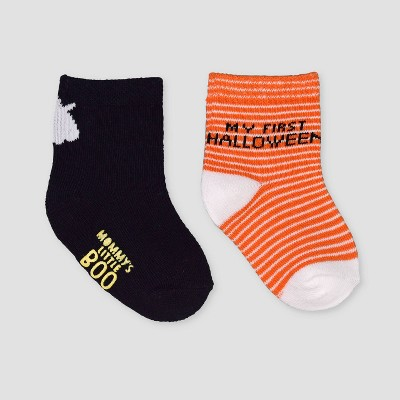 Baby 2pk Halloween Crew Socks - Just One You® made by carter's Orange 0-6M