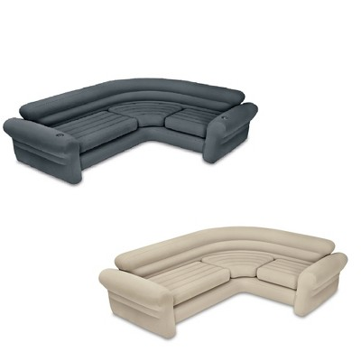 Intex Inflatable Couch Sectional, Gray & Intex Inflatable Couch Sectional, Beige