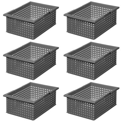 Like-It Versatile Stacking Plastic Home Bathroom Storage Solution Organizer Slotted Basket Tote, Gray (6 Pack)
