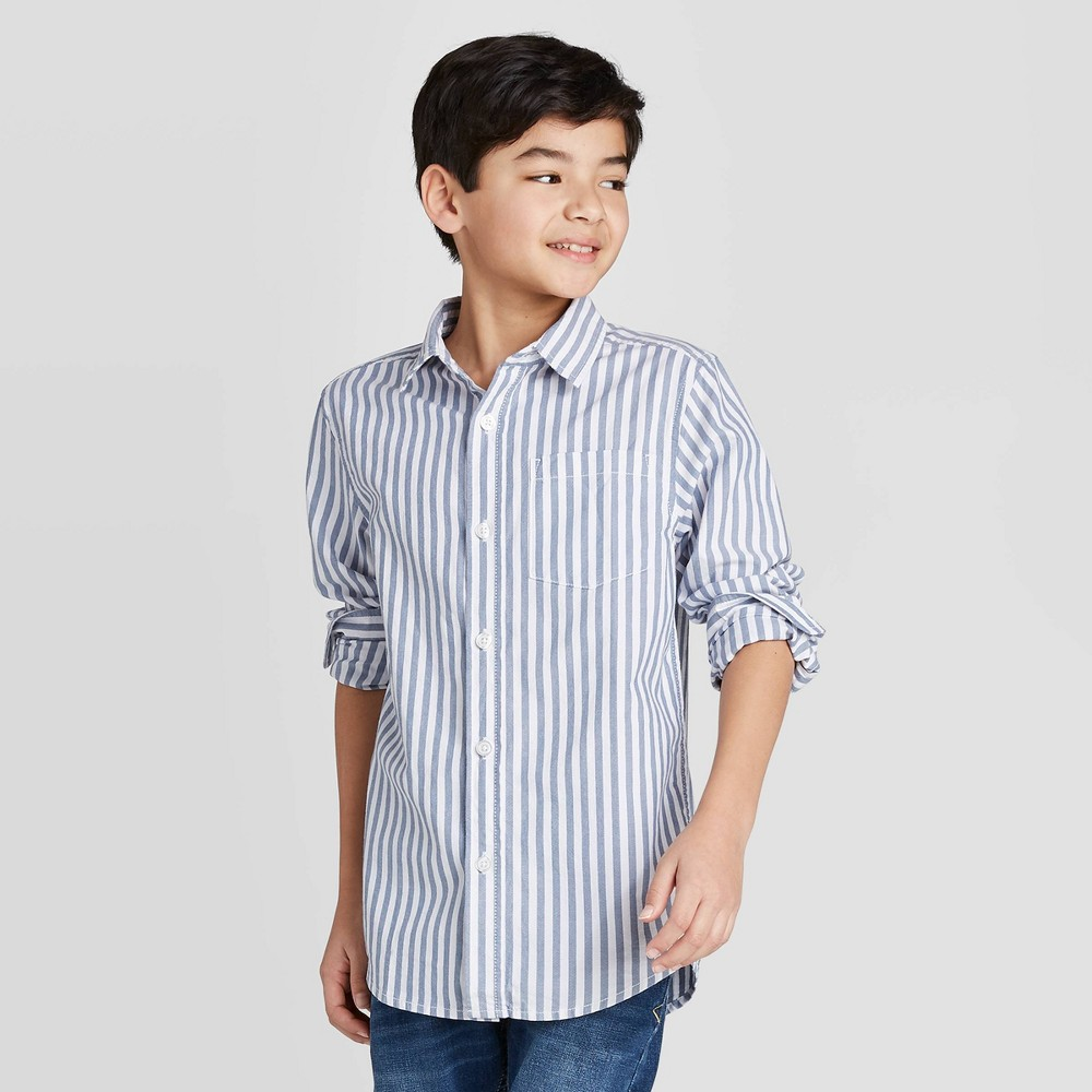 Image of Boys' Long Sleeve Striped Button-Down Shirt - Cat & Jack White/Navy L, Boy's, Size: Large, Blue