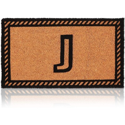 Letter J Welcome Mat, Natural Coir Doormat (30 x 17 Inches)