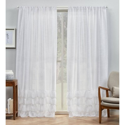 Set of 2 Jacinta Bottom Ruffle Sheer Rod Pocket Curtain Panel - Exclusive Home