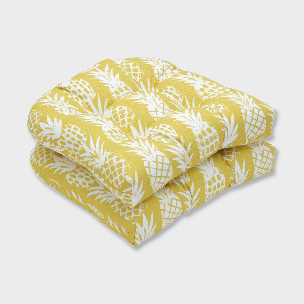 Swell 2Pk Pineapple Wicker Outdoor Seat Cushions Yellow Pillow Perfect Machost Co Dining Chair Design Ideas Machostcouk