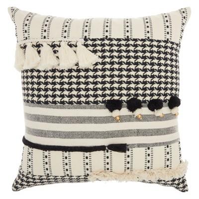 Life Styles Tassel Texture Square Throw Pillow Black/White - Mina Victory
