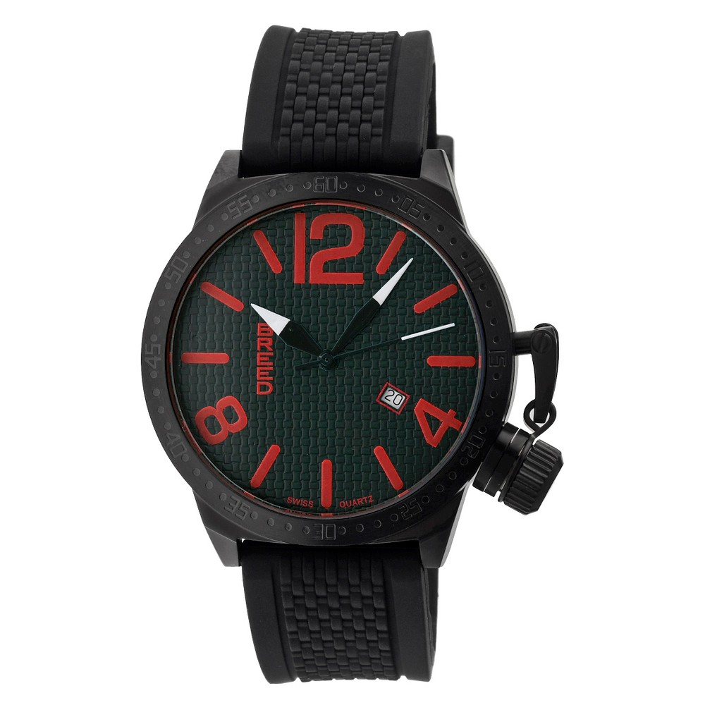 Men's Breed Falcon Swiss Quartz Carbon Fiber Patterned Dial Silicone Strap Watch-Black/Red, black red