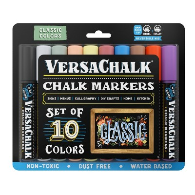 10ct Chalk Markers Reversible Nib Classic - VersaChalk