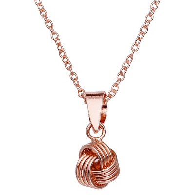 Rose Gold Plated Sterling Silver Textured Loveknot Pendant Necklace - 18""