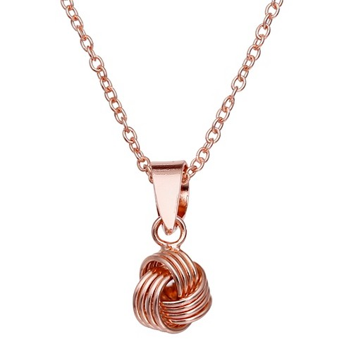 "Rose Gold Plated Sterling Silver Textured Loveknot Pendant Necklace - 18"" - image 1 of 1"