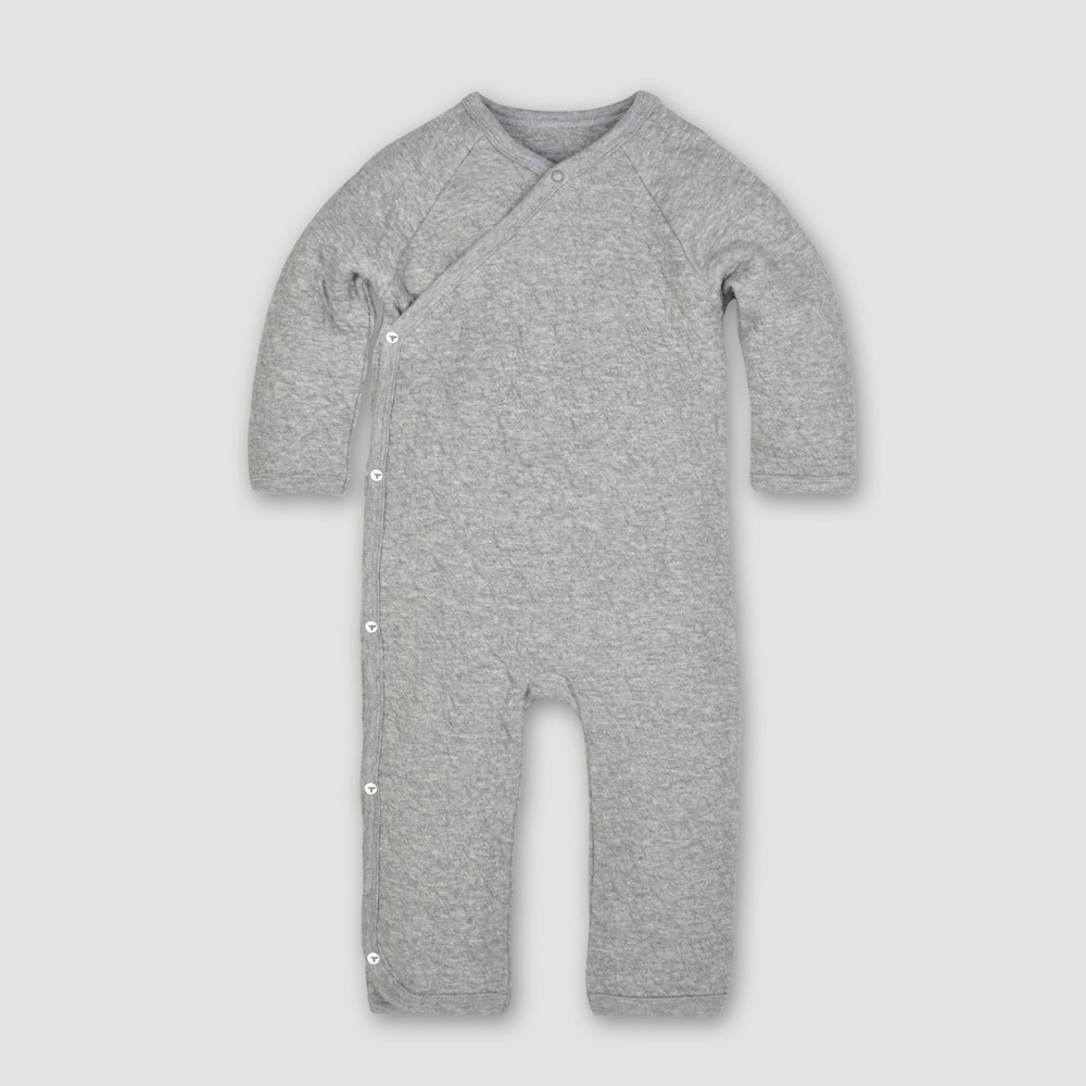 Burt's Bees Baby Organic Cotton Quilted Bee Kimono Coverall - Heather Gray 12M, Infant Girl's