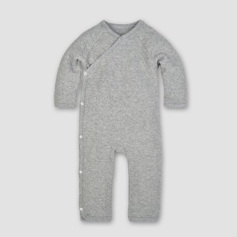 Burt's Bees Baby® Organic Cotton Quilted Bee Kimono Coverall - Heather Gray 0-3M - image 1 of 2