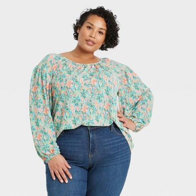 Women's Plus Size Printed Long Sleeve Knit Blouse - Ava & Viv™