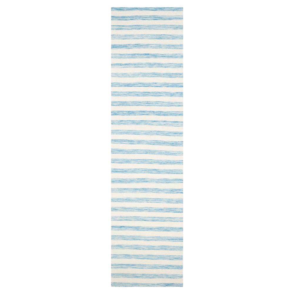 Roland Dhurrie Accent Rug - Aqua / Ivory (2'6 X 10') - Safavieh, Blue/Ivory