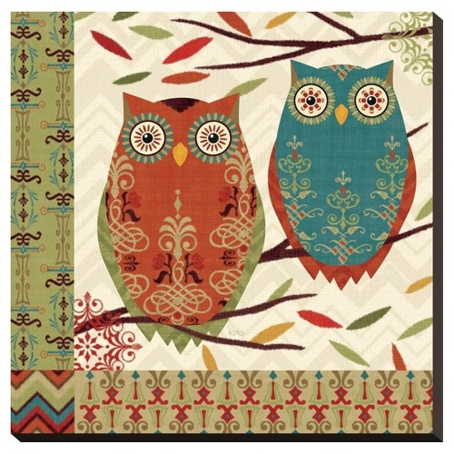 Hoot I By Veronique Charron Stretched Canvas Print - Art.Com, Multicolored