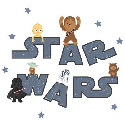 Lambs & Ivy Star Wars Logo Wall Decals w/ Yoda/R2D2/Darth Vader and more - Blue