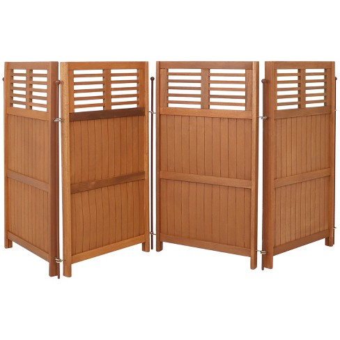"""Sunnydaze Outdoor Patio or Porch Meranti Wood with Teak Oil Finish Folding Privacy Screen Fence - 44"""" - image 1 of 4"""