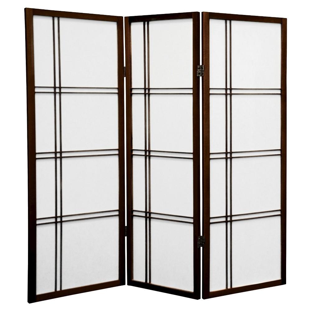 Image of 4 ft. Tall Double Cross Shoji Screen - Walnut (3 Panels) - Oriental Furniture, Brown