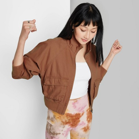 Women's Zip Front Utility Cropped Jacket - Wild Fable™ - image 1 of 3